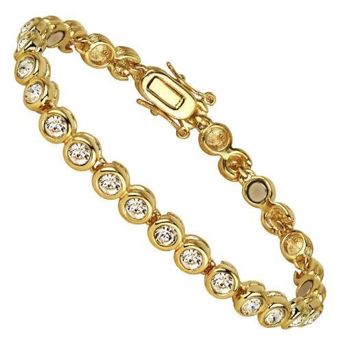 Bracelet magn tique or swarovski elements bijoux - Bracelet magnetique avis ...
