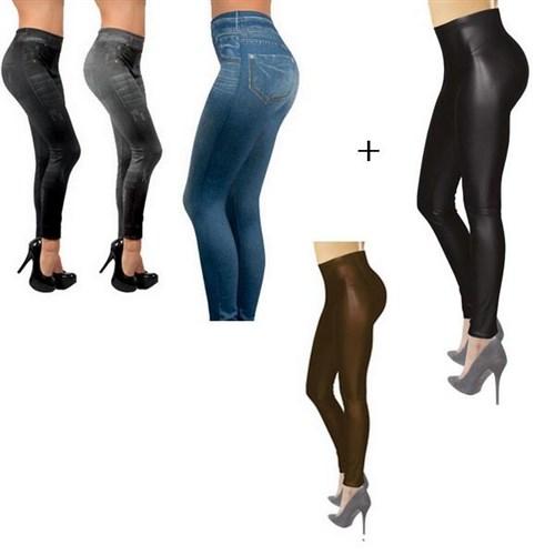 "Jegging Beauty Lot de 3 + 2 Jeggings ""Effet cuir"""